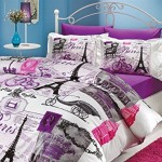 Ranforce 100% Turkish Cotton 4 Pcs!! Ranforce Vintage Purple Paris Eiffel Tower Theme Themed Full Queen Size Quilt Duvet Cover Set Bedding Linens