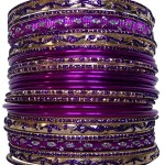 Set of Purple Bangle Bracelets for Women