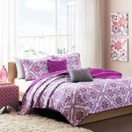Reversible Teen Girls Purple Grey Paisley Coverlet Bedding Set with Pillows (Full/queen) Includes Mouse Pad
