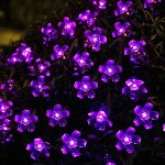 Innoo Tech Solar Flower String Lights Outdoor Fairy 50 Led Blossom Lighting for Garden,Patio,Path,Christmas,Indoor,Party-Purple