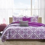 Reversible Teen Girls Purple Grey Paisley Coverlet Bedding Set with Pillows (Twin/twin Xl) Includes Mouse Pad