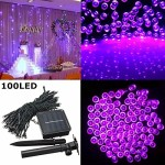 SOLMORE Solar Powered LED String Light, Ambiance Lighting, 100 LED Starry Solar Fairy String Lights for Outdoor, Gardens, Homes, Christmas Party Holiday Landscape Decor- Purple