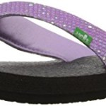 Sanuk Kids Yoga Glitter Flip Flop (Little Kid/Big Kid), Hot Orchid, 4 M US Big Kid