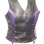The Nekid Cow Womens Naked Leather Motorcycle Biker Ladies Vest with Front Lacing Purple Accents Large