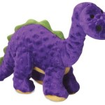 goDog Dinos Bruto With Chew Guard Technology Tough Plush Dog Toy, Purple, Large