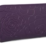 YALUXE Women's Rose Pattern Genuine Leather Zip Wallet Coin Pocket (Gift Box) Dark Purple