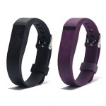 Vetoo Replacement Bands for Fitbit Flex,Fashion Silicone Bracelet Wristband Accessory,Pack of 2,Black+Purple