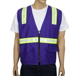 Safety Depot Two Tone Reflective Surveyor Safety Vest with Zipper and Pockets Hi-Vis for Construction, Landscaping, Crossing Guard, EMS, Airport, Events and Road Work 8038-Purp (Purple, Large)