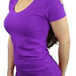 Belle Donne- Women's Cotton Short Sleeve Stretchy Scoop Neck Yoga Tshirt- Purple / S