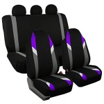 FB133115 Full Set Premium Modernistic Seat Covers Purple / Black- Fit Most Car, Truck, Suv, or Van