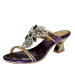 Unicrystal Women's Handmade Crystal Rhinestone Mid-Heel Slip On Party Prom Sandal Shoes Purple 10 M US