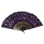 Chinese Classical Fabric Silk Hand Fan with Peacock Pattern for Girls Women Ladies (Purple)