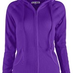 Ollie Arnes Women's Casual Lightweight Thermal Knitted Zip-Up Hoodie Jacket PURPLE M