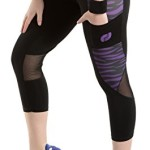 Ribay Women's Capri Workout Leggings for Yoga and Running (Large, Purple)