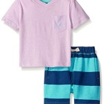 Nautica Baby V-neck Pocket Solid Tee and Stripe Short Set, Light Purple, 12 Months