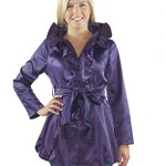 Womens Elegant Silk Front Ruffle Trench Coat- Assorted Colors (Small, Purple)