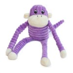 ZippyPaws Spencer the Crinkle Monkey Purple- Squeaky Plush Dog Toy