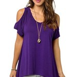 Relipop Women Hollow Out Casual Shirt Short Sleeve Off Shoulder Tunic Tops (Small, Purple)