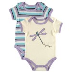 Touched by Nature Baby-Girls Organic Bodysuits, Dragonfly, 0-3 Months (Pack of 2)