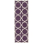 Safavieh Chatham Collection CHT732F Handmade Purple and Ivory Wool Runner, 2 feet 3 inches by 9 feet (2'3″ x 9′)