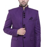 Wintage Men's Rayon Cotton Bandhgala Festive Purple Nehru Mandarin Blazer