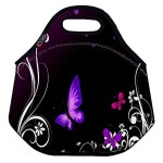Purple Butterfly Soft Friendly Insulated Lunch box Food Bag Neoprene Gourmet Handbag lunchbox Cooler warm Pouch Tote bag For School work
