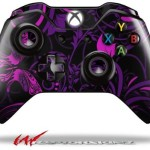 Twisted Garden Purple and Hot Pink – Decal Style Skin fits Microsoft XBOX One Wireless Controller (CONTROLLER NOT INCLUDED)