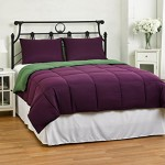 Cozy Beddings Reversible Down Alternative 3 Piece Comforter Set, Full/Queen, Green/Purple