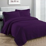 Fancy Collection 3pc Luxury Bedspread Coverlet Embossed Bed Cover Solid Dark Purple New Over Size 100″x 106″ Full/queen