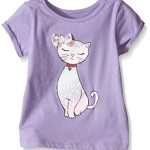 The Children's Place Toddler Girls Cuff Sleeve Printed Top, Lavender, 4T