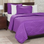 Lavish Home Solid Embossed 3 Piece Quilt Set – Full/Queen – Purple
