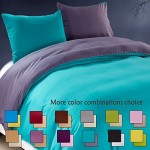 NTBAY 3 Pieces King Reversible Solid Color Microfiber Duvet Cover Set with Zip ( King,Green Black and Purple )