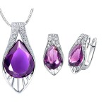 Layla Jewellery 18k White Gold Plated Alloy Swarovski Elements Crystal Jewelry Set include Pendant Necklace and Stud Earrings for Ladies Purple(Special Cut)