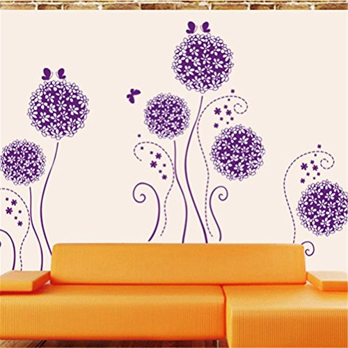 Amaonm® Purple Hydrangea Shape Dandelions Nursery Flowers Wall Decals  Removable Butterfly Home Art Decor Decal Wall Stickers Murals For Kids  Girls Room ... Part 31