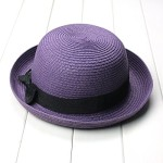 OULII Fashion Women's Girls Bowknot Roll-up Wide Brim Dome Straw Summer Sun Hat Bowler Beach Cap (Purple)