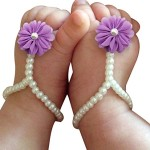 One Pair Baby Pearl Chiffon Barefoot Foot Flower Beach Sandals,Purple