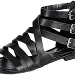 Breckelle's Women's Covina-24 Gladiator Strappy Flat Sandals Black 7 B(M) US