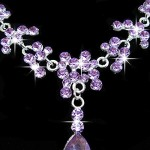 LING'S SHOP Charm Wedding Bridal Rhinestone Crystal Pendant Necklace Earring Plated Jewelry Set (Purple)
