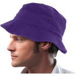 Mens 100% Cotton Fishing Hunting Summer Bucket Cap Hat (L/XL, Purple)