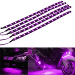 E Support 5Pcs 30cm 15 Leds SMD Waterproof Flexible Purple Light Strip Bar car Light Flexible Strip