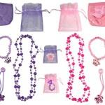 Pink & Purple Princess Accessory Set (2 Necklaces, 2 Bracelets, 4 Sets of Girls Ponytail Holders, & 2 Coin Purses)