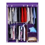 Homdox 63inch Portable Wardrobe Metal+Fabric Closet Organizer Storage with Cover and Side Pockets and Clothes Rods Durable Sturdy Tire shelves Dark Purple