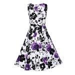 Creti Women's Vintage Classy 1950's Floral Sleeveless Party Evening Picnic Spring Garden Dress Cocktail Dress (XXL, Purple)