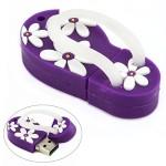 16GB USB Flash Drive with Flower Pattern Beach Sandal Shape (Dark Purple)