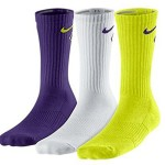 New Nike 3 Pack Boys' Graphic Cotton Cushioned Crew w/ Moisture Mgt Socks Purple/Wht/Cyb Youth Medium
