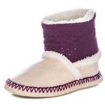 Womens Eskimo Indoor Short Boot Slippers – Purple/Beige – XLarge