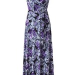 Kranda Womens Vintage Floral Print Short Sleeve Maxi Long Party Dress (Large, Purple)