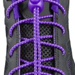 ChezMax Elastic No-Tie Shoe Laces for Any Ages Purple with White Spot (2 Pairs)