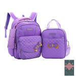 Moonwind 3pcs Sweet Bow Princess Waterproof Girls School Backpack Book Bag and Pencil Lunch Bag Set (Quilted, Quilted Purple)