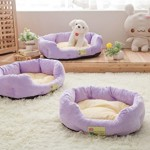 FFMODE Dog Cat Bed Soft Warm Pet House Cushion Puppy Sofa Couch Kennel Pad Furniture, 48x38x14cm, Purple
